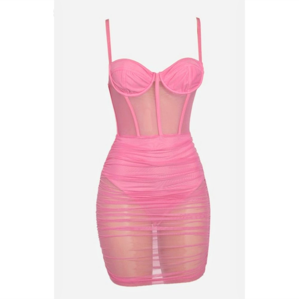 Image of Ariella Dress (Pink & Baby Blue)