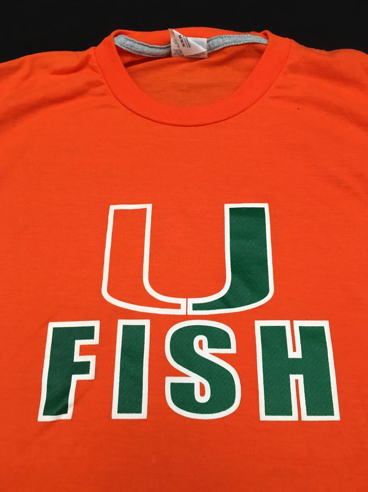 Image of Orange U Fish Shirt. Short Sleeve