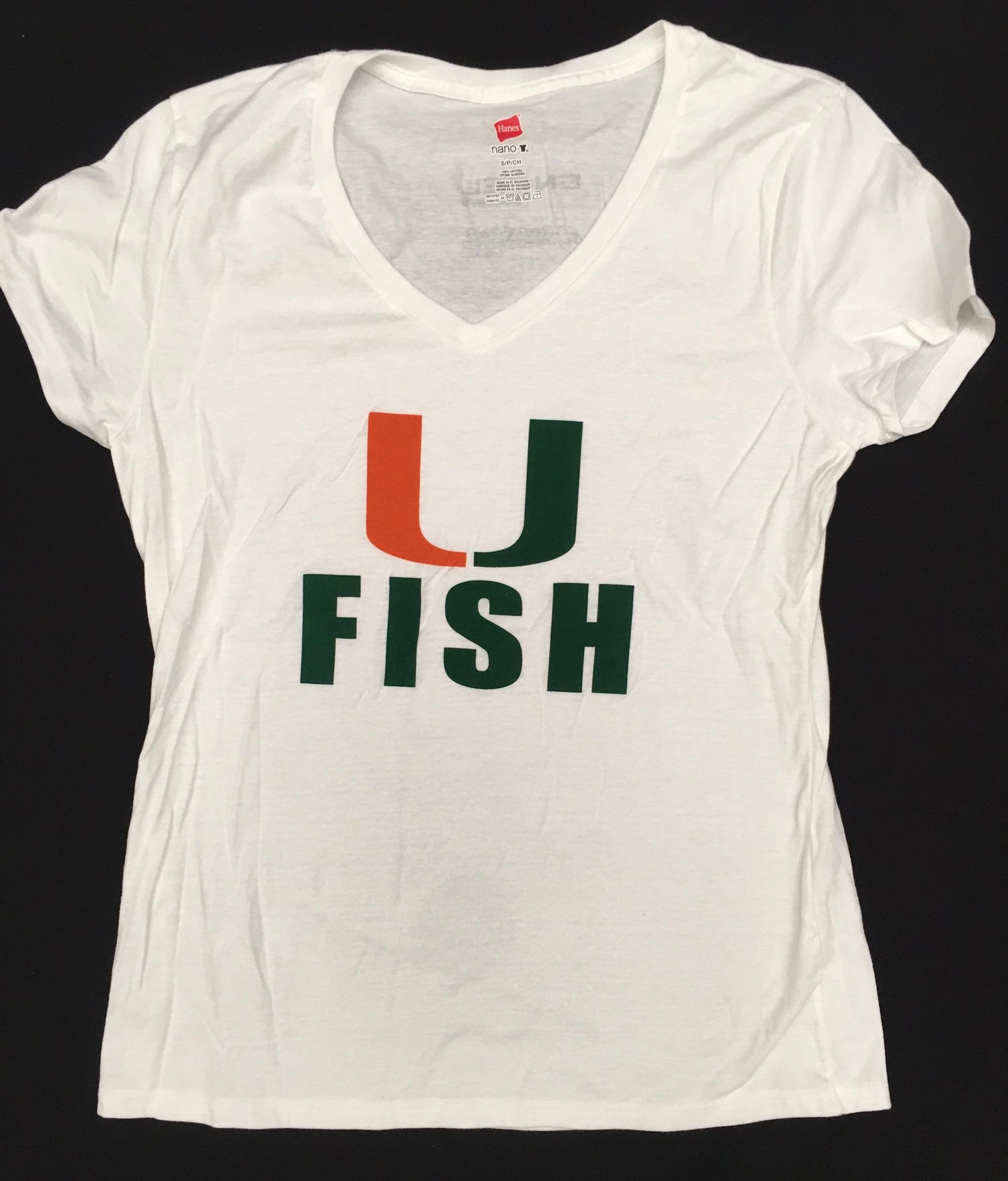 Image of Women's White U Fish tee shirt