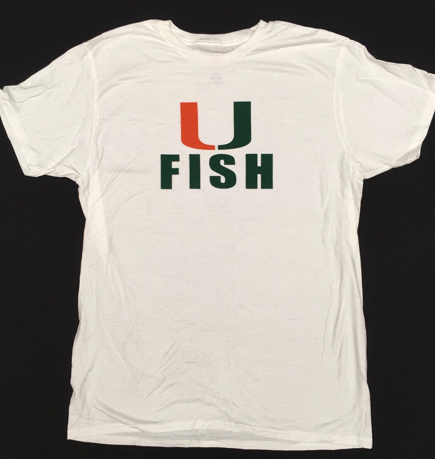 Image of Men's White U Fish Tee Shirt