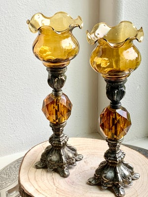 Image of Vintage pair of Amber Candlestands with ruffed votives