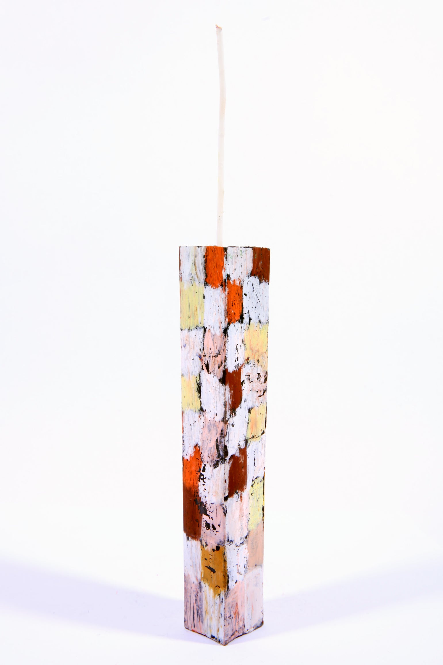 Image of Tower in clay pink, soft yellow, white, brown madder, sienna, light pink and red