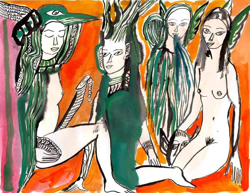 Image of Priapic Maenad and Witches archival print
