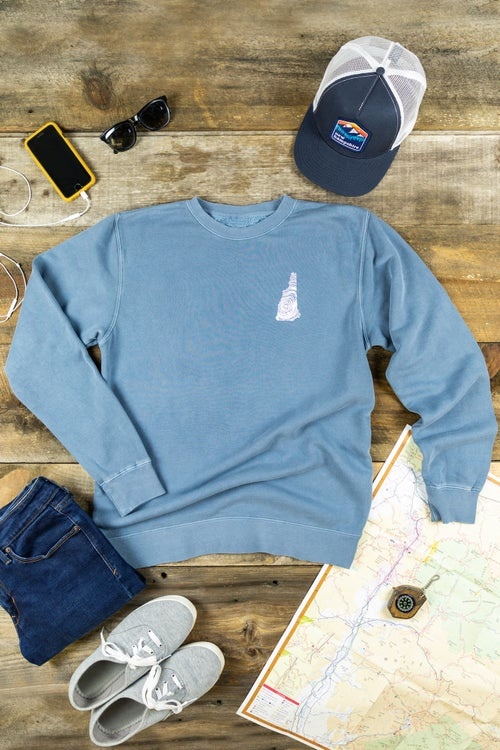 Image of NH Homegrown- Washed Denim Crewneck Sweatshirt