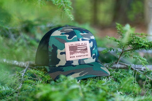 Image of NH Flag & Mountain Cap- Camo/Black Mesh