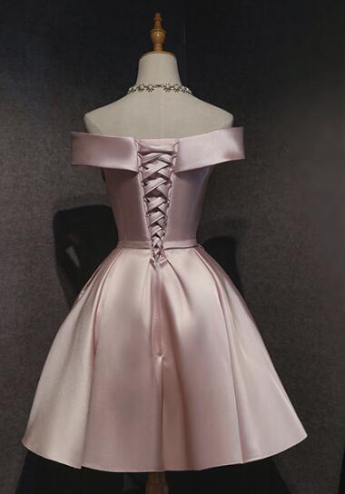 Cute Pink Satin A-line Short Homecoming Dress, Pink Prom Dress