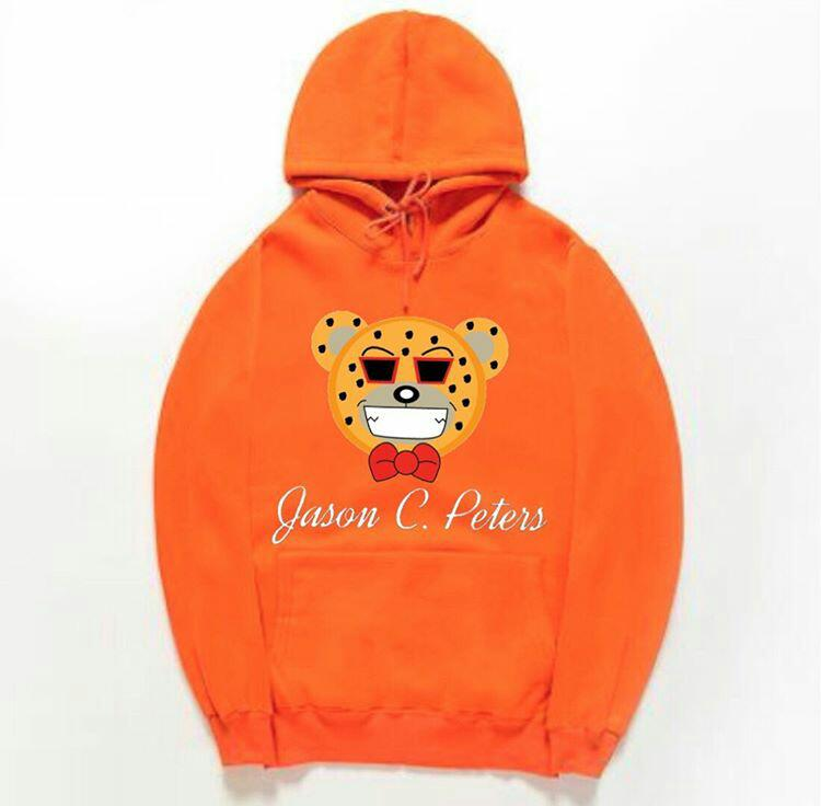 Image of Orange Cheetah Bear Hoodie