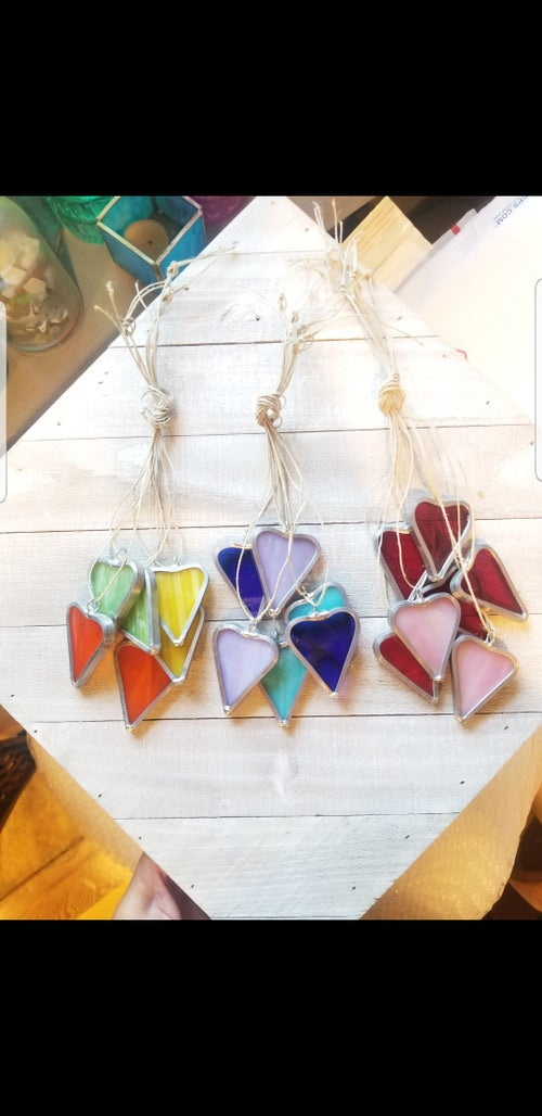 Image of String of Hearts(5)-stained glass