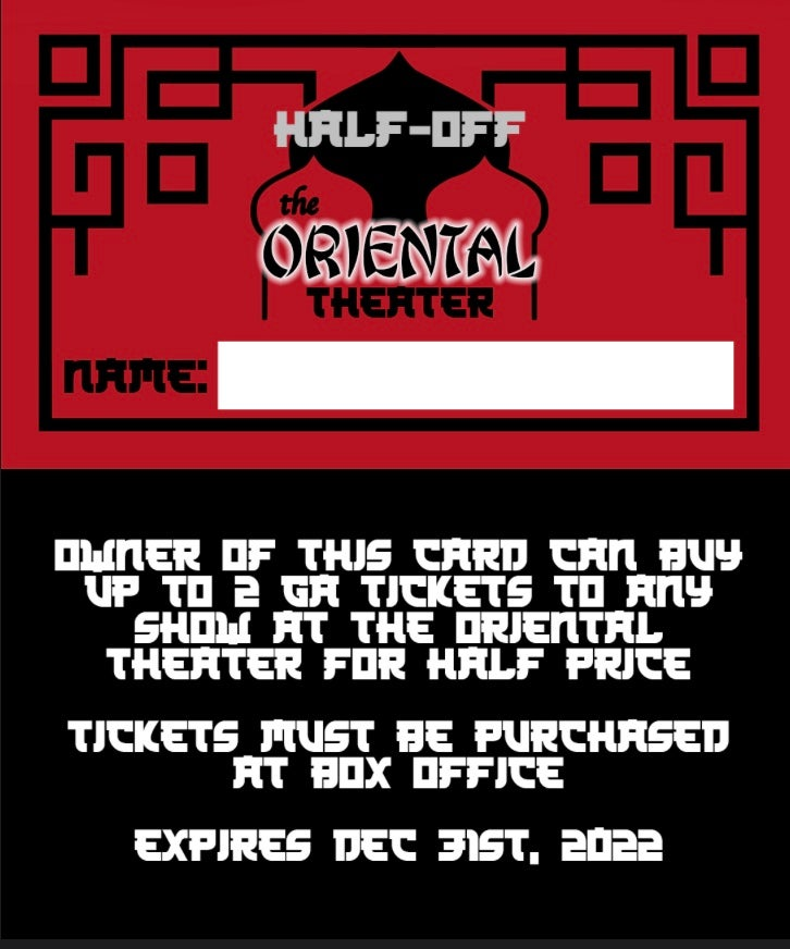 Oriental Theater 50 Off Card