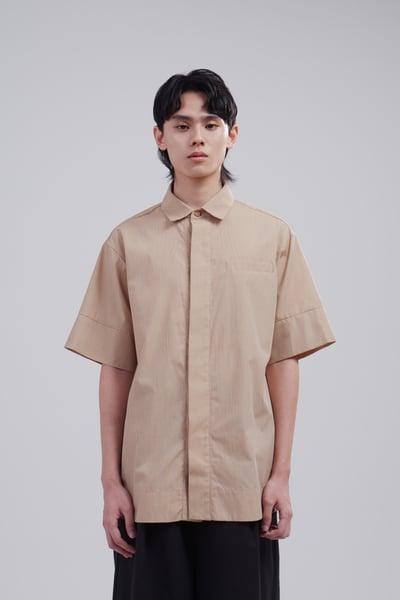Image of TRAN - 條紋寬版襯衫(卡其)