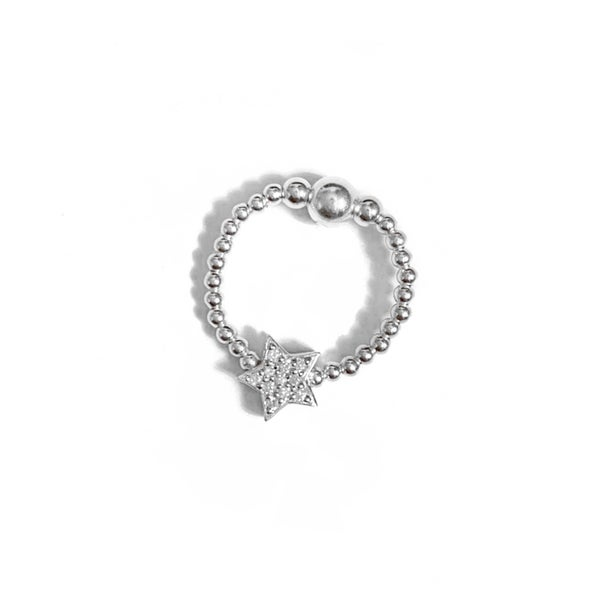 Image of Sterling Silver Diamanté Star Bead Ring