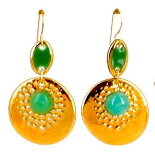 Image of Chrysoprase and gold earrings