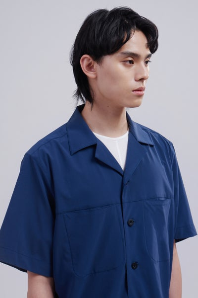 Image of TRAN - 寬版開領彈性襯衫 (藍)