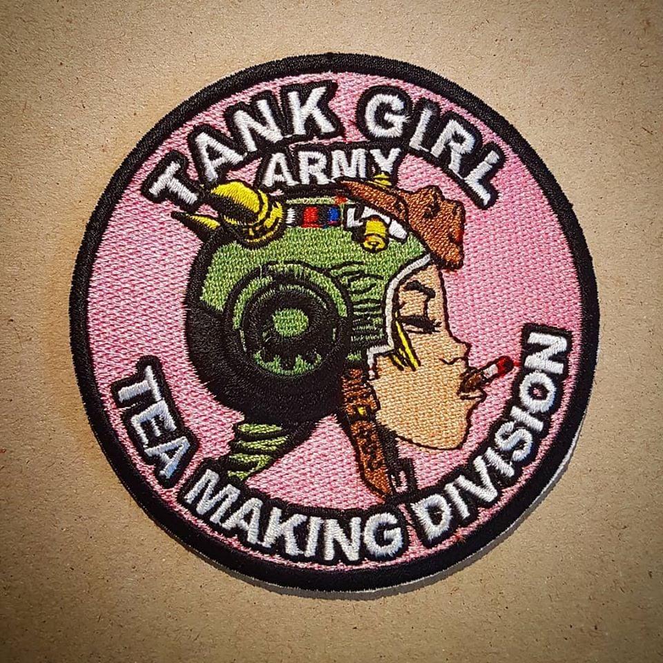 Image of TANK GIRL BUBBLEGUM PINK TEA MAKING PATCH (with bonus print!)