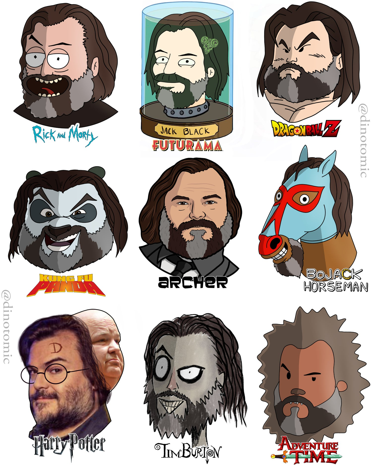 Image of #214 Jack Black drawn in different styles