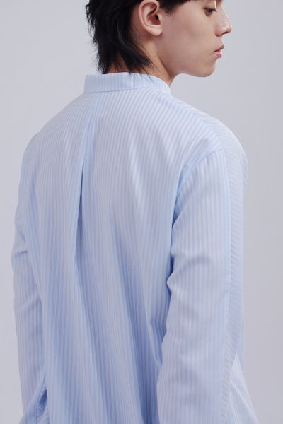 Image of TRAN - 小高領連袖襯衫 (藍)