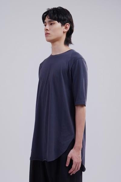 Image of TRAN - 棉感剪接短袖Tee (藍)