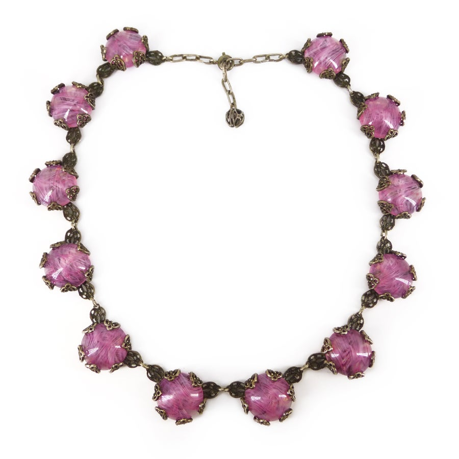Image of Vintage Mid Century French Pink Swirled Glass Cabochon Rousselet Style Necklace