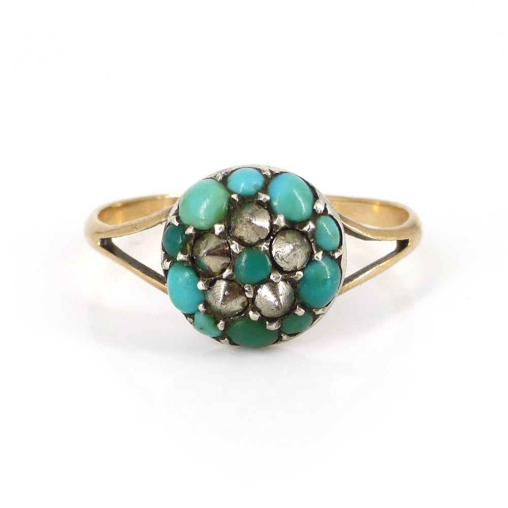 Image of Antique Victorian Gold Turquoise & Marcasite Floral Studded Ring