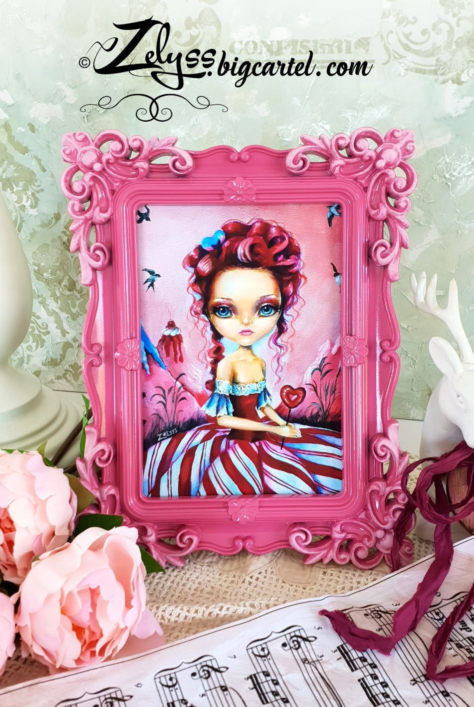"""Image of 'Peppermint Candy Queen' : Embellished print in hand-painted frame 7.5x9.5"""""""