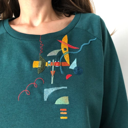 Image of Elephant - original hand embroidery on organic cotton sweatshirt, size Medium, one of a kind