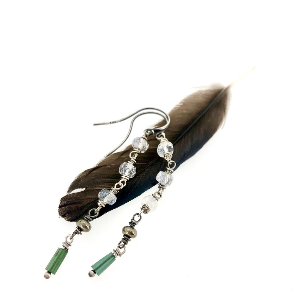 Image of Rainbow moonstone and green tourmaline earrings