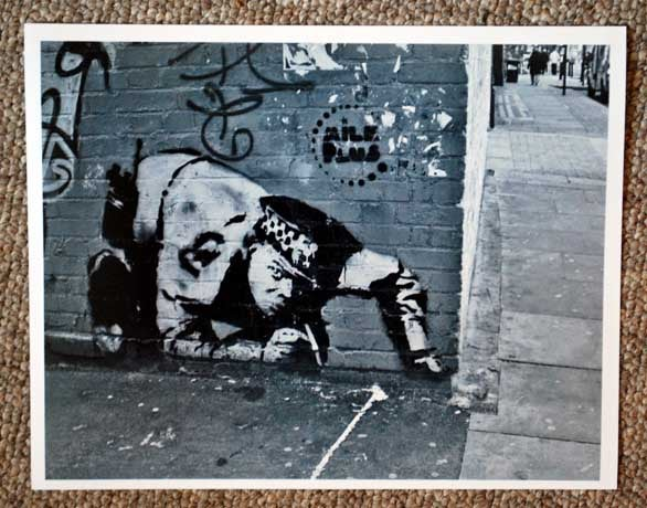 """Image of Signed & Numbered - Banksy - Snorting Copper - 2006 - B & W 10"""" x 8"""" photo"""