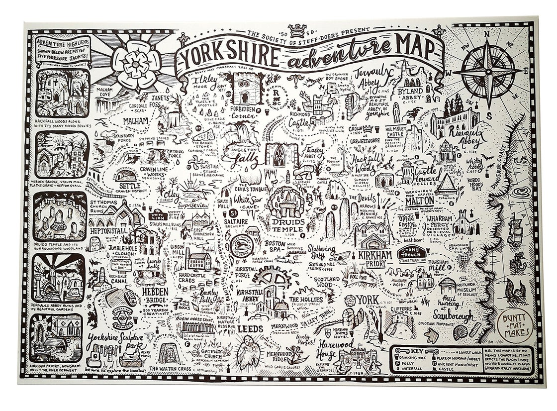 Image of YORKSHIRE ADVENTURE MAP SCREEN PRINTED ART PRINT A3