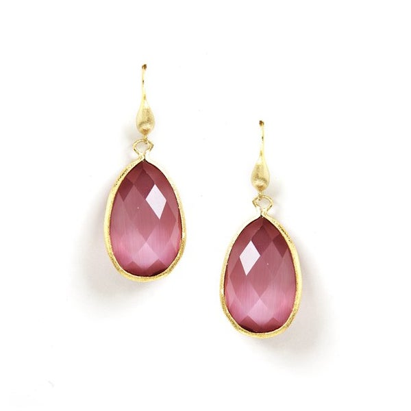 Image of Bezel Set Teardrop Crystal Hook Dangle Earrings
