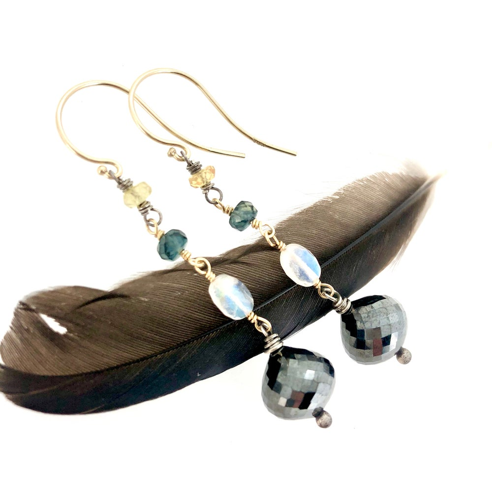 Image of Hematite and sapphire earrings in 14k gold