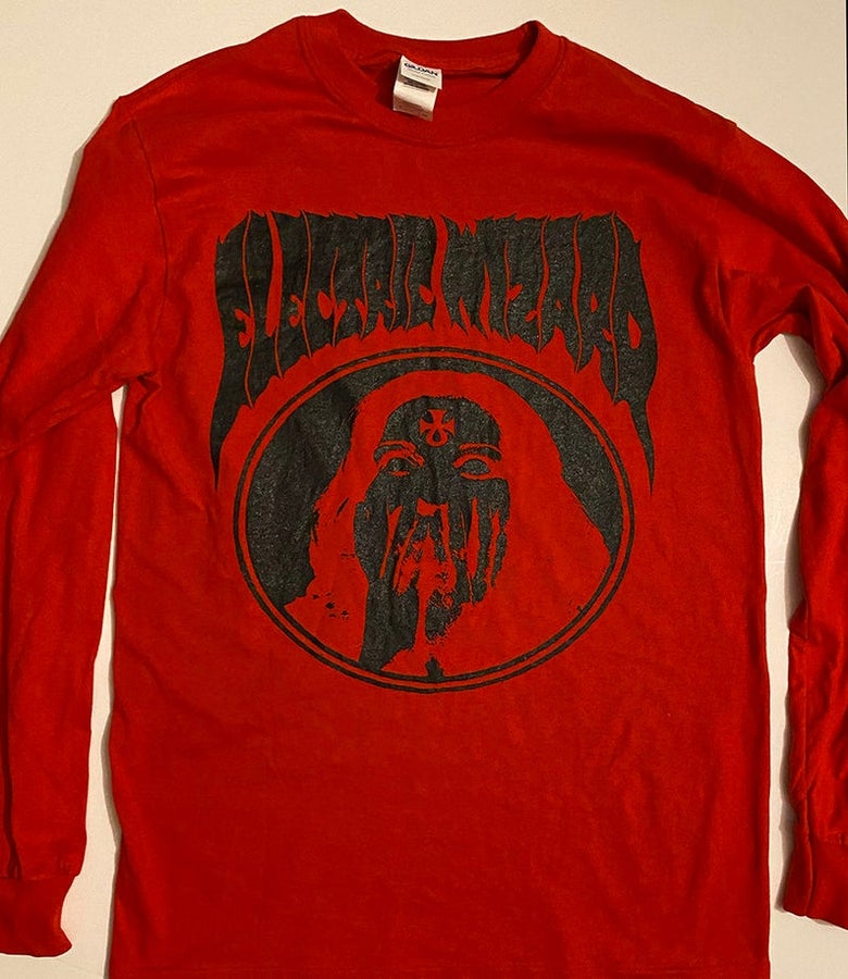 "Image of Electric Wizard "" Inverted Ankh Girl "" Red Long Sleeve T-shirt"