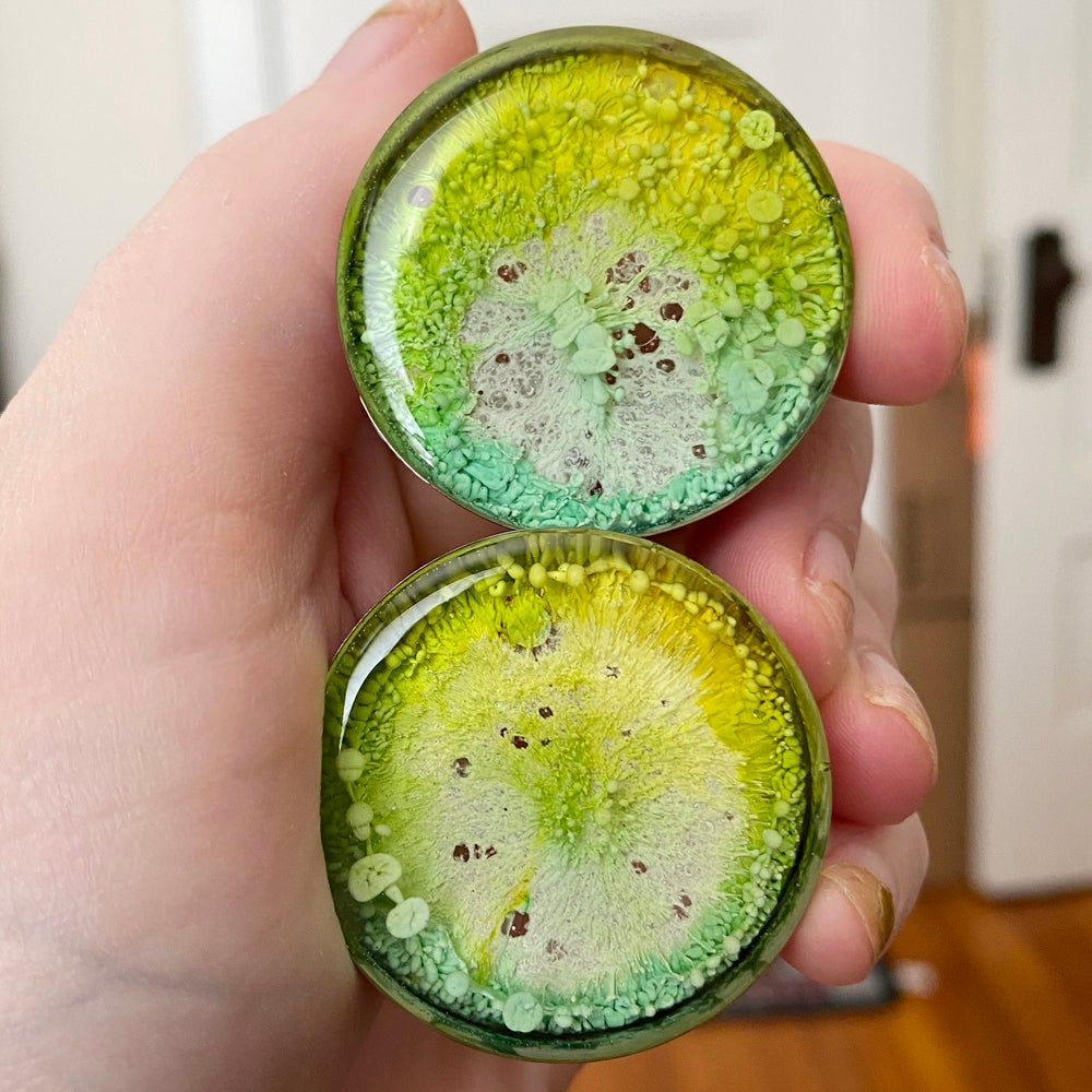 Image of 1 3/8 Lime/Yellow Inky Plugs