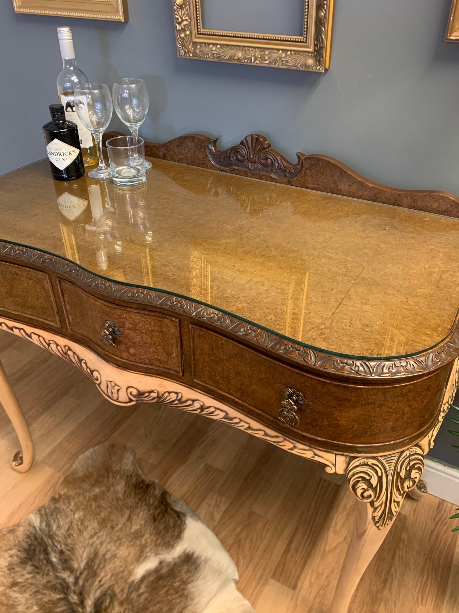 Image of Stunning walnut burr desk/console/dressing table
