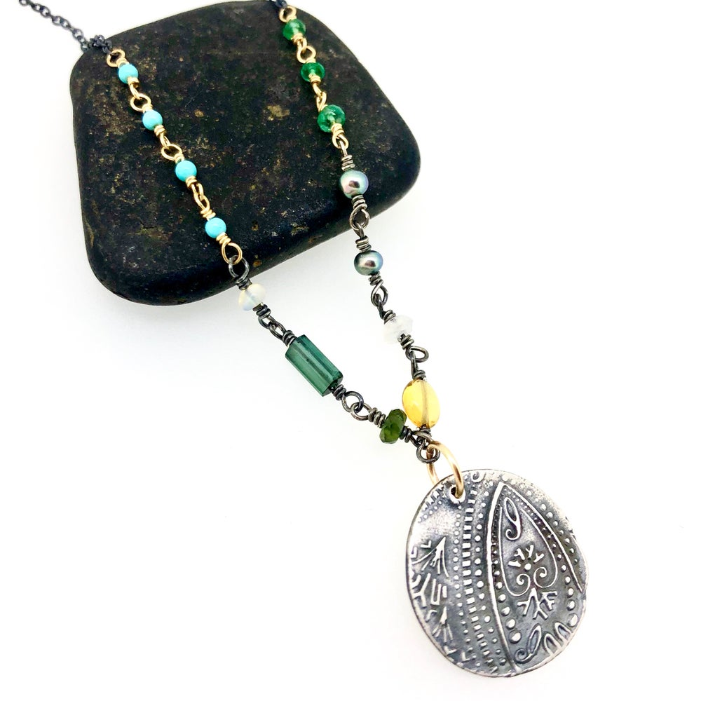 Image of Boho paisley necklace with emeralds and Kingman turquoise