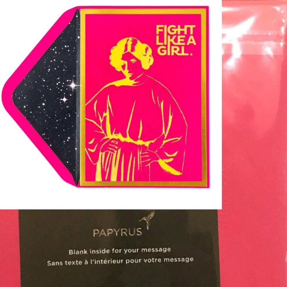 Papyrus Star Wars Fight Like GirlGreeting Card