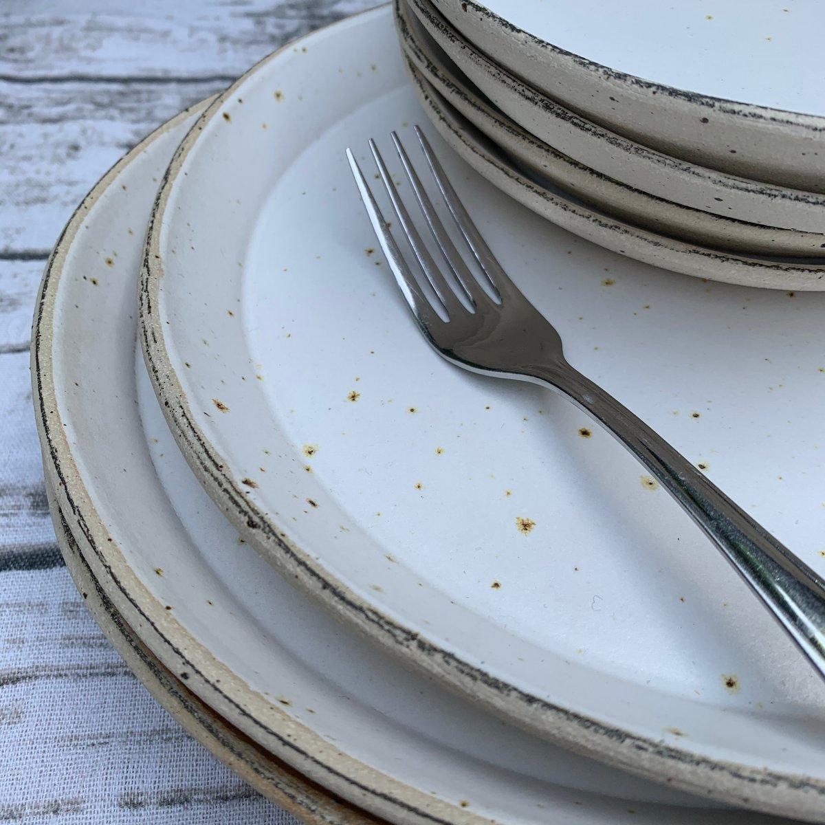 Large flecked stoneware plate