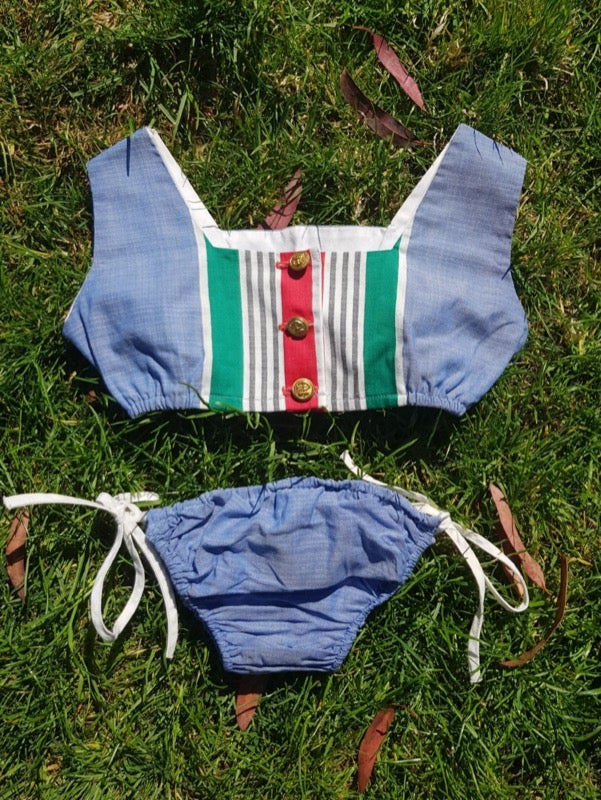 Image of Nautical, stripes and chambray three piece of dress and bikini. Age 2-3yrs.