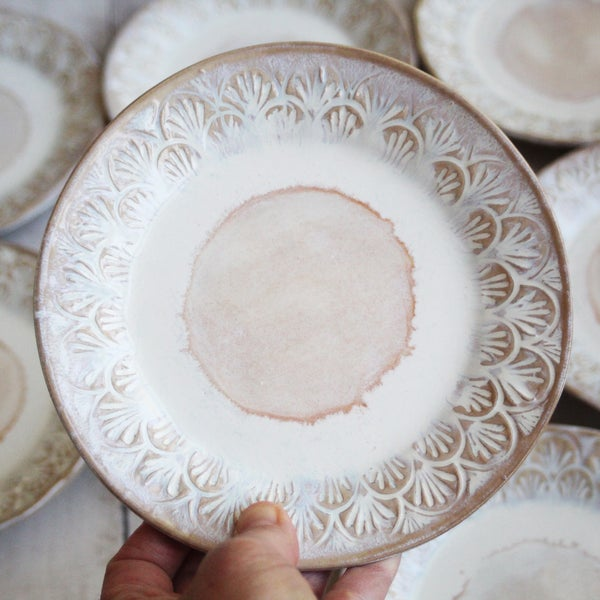 Image of Reserved for Laura - Set of Eight Dessert Dishes in White and Ocher Glaze, Handcrafted Made in USA