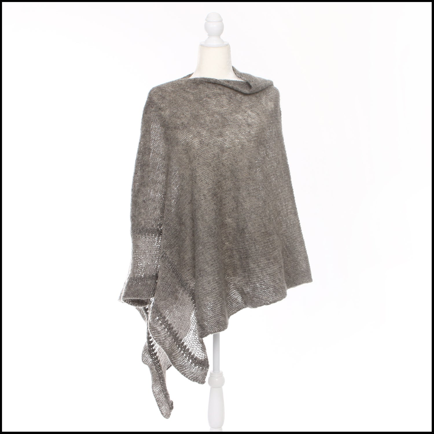 Image of Asymmetrical Poncho - textured details - dark grey