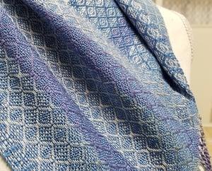 Image of Handwoven Cowl - Sky Blue Lavender Silver & White  w/ Beaded Fringe