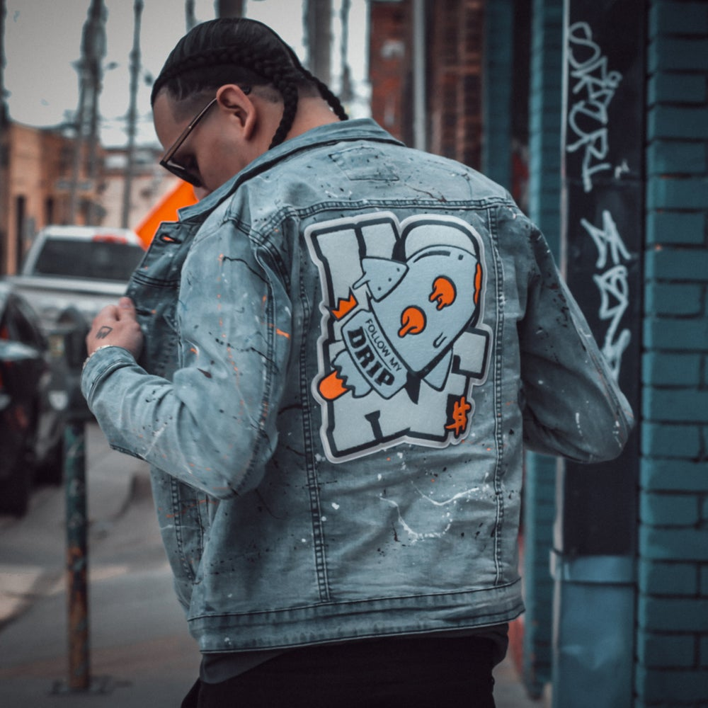 Image of Follow My Drip Chenille Patch Jean Jacket