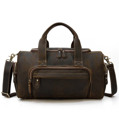 Image of Handmade Genuine Leather Duffel Bag, Travel Bag, Weekender Bag LF9460