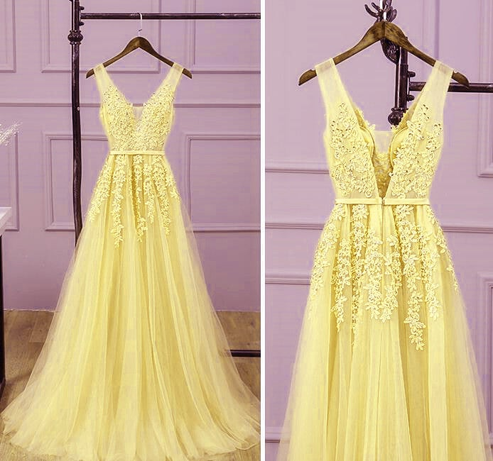 Beautiful Yellow Tulle V-neckline Party Dress, Yellow Long Prom Dress