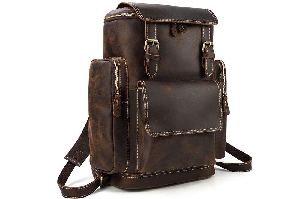 Image of Handmade Vintage Men Large Leather Backpack, Travel Backpack  LJ1043