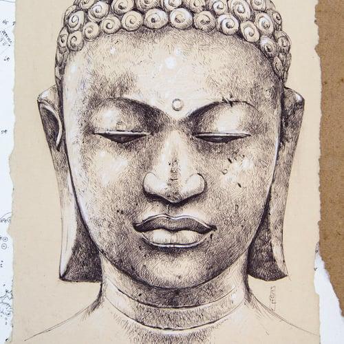 """Image of Boîte à trésors - """"Bouddha et galets bleus"""""""
