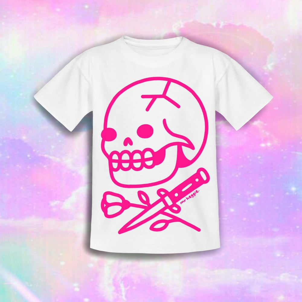 Image of The pink rose skull shirt