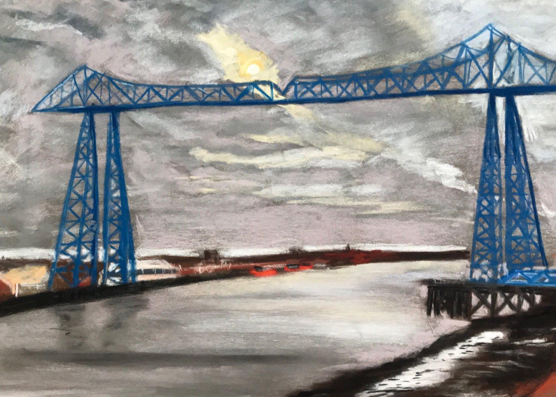 Image of Grey skies over Teesside - Original Pastel