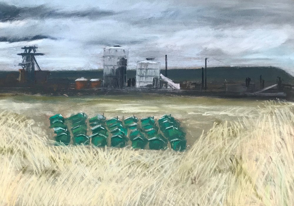 Image of Fisherman's hut and steelworks, South Gare