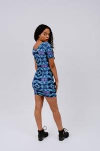 Image of Blue Abstract Print Mini Dress
