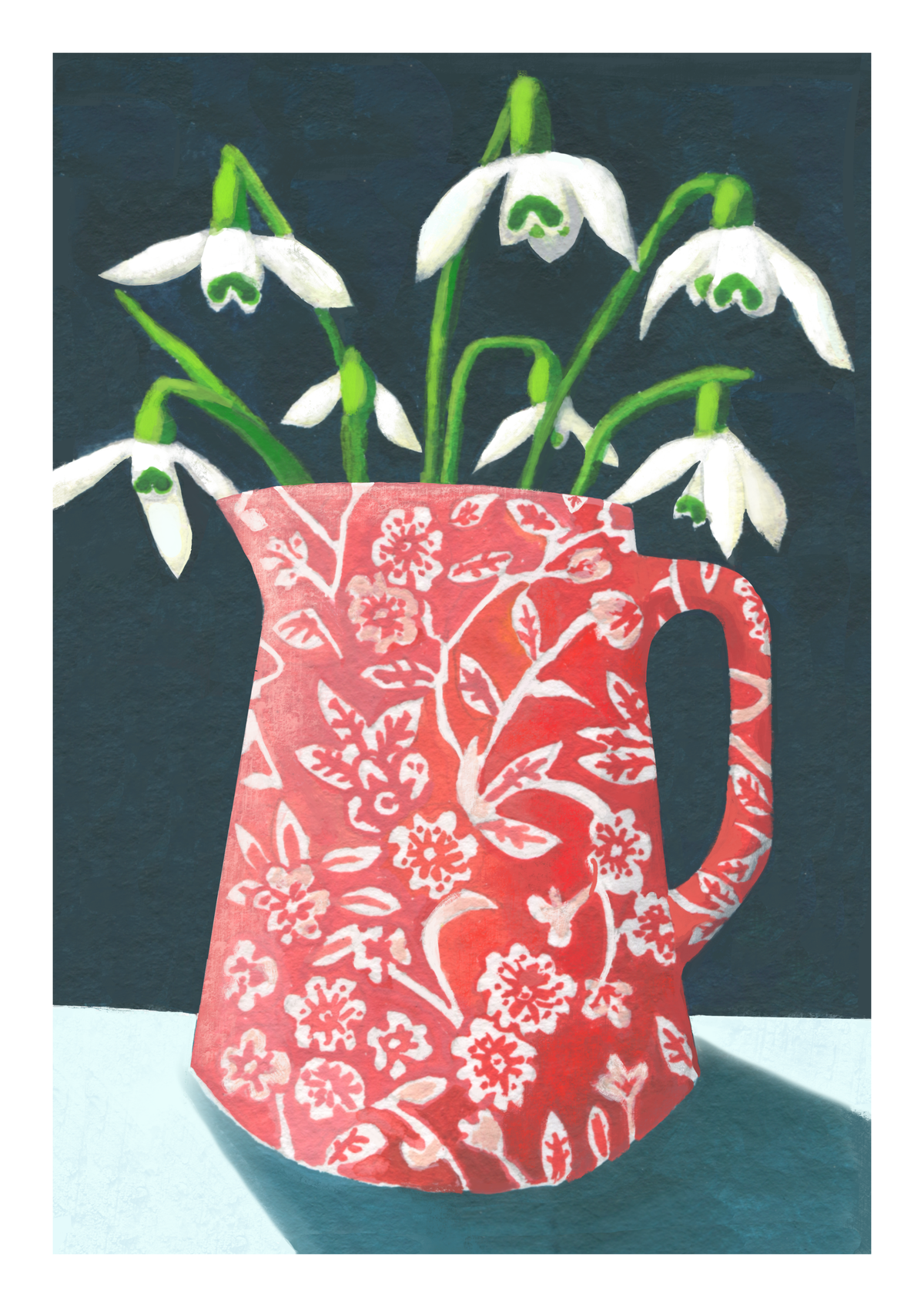 Snowdrops in Red Calico Jug